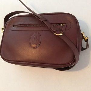 CARTIER Vtg. Must Line Bordeaux CrossBody Bag Zip